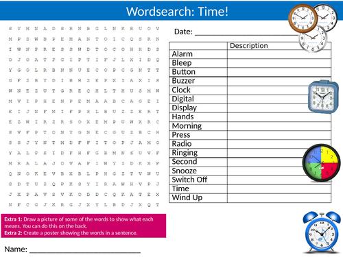 4 x Time Wordsearch Sheet Starter Activity Keywords Cover Homework Telling The Clocks
