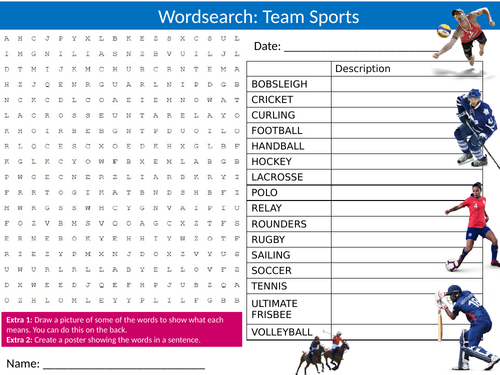 Teamsports Wordsearch Sheet Starter Activity Keywords Cover Homework Team Sports PE Studies