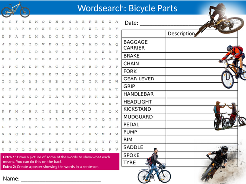 Bicycle Parts Wordsearch Sheet Starter Activity Keywords Cover Homework Bike Cycling Sports
