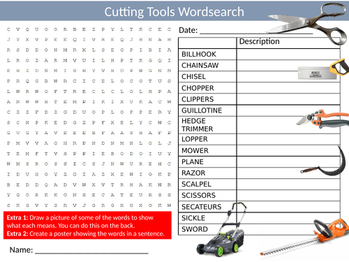 Cutting Tools Wordsearch Sheet Starter Activity Keywords Cover Homework Design Technology