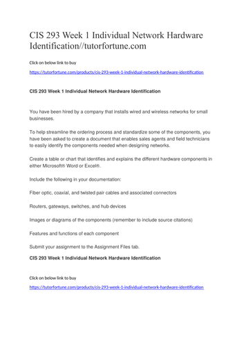 CIS 293 Week 1 Individual Network Hardware Identification//tutorfortune.com
