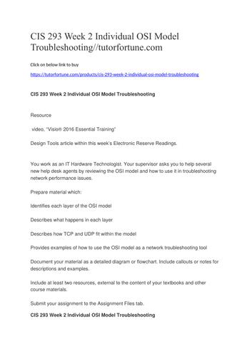 CIS 293 Week 2 Individual OSI Model Troubleshooting//tutorfortune.com