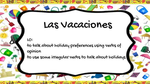 Las Vacaciones - Present Tense - Verb Gustar