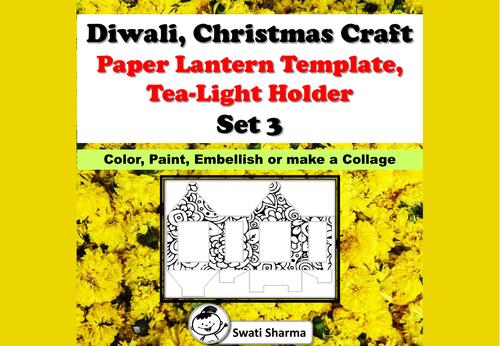 Diwali, Christmas Craft, Paper Lantern Template, T-Light Holder, Set 3