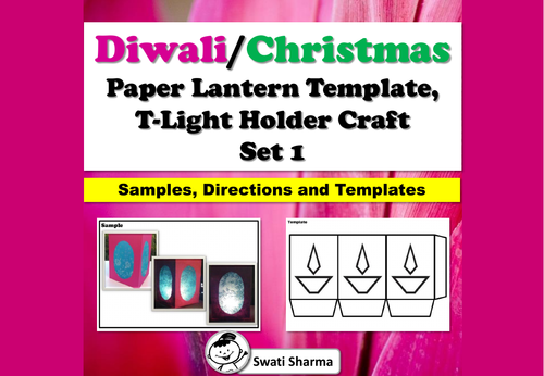 Diwali, Christmas Craft, Paper Lantern Template, T-Light Holder, Set 1