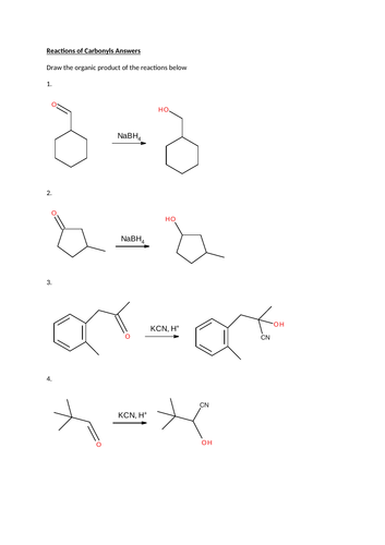 Reactions of carbonyls . Worksheet with answers