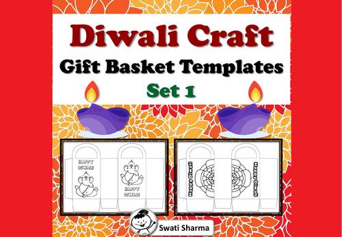 Diwali Craft, Gift Basket Templates, Set 1