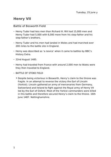 Henry VII Battle of Bosworth notes