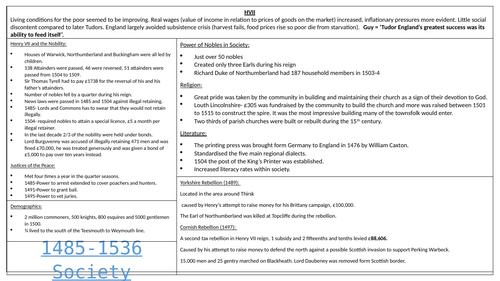 Tudor society overview notes