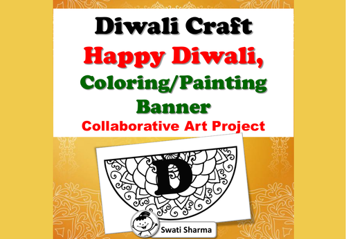Diwali Craft, Happy Diwali, Mandala Coloring/Painting Banner