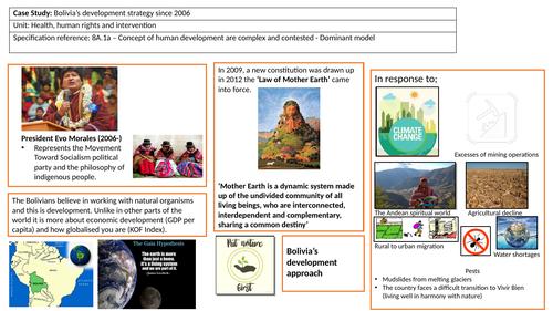 Case study summary sheet of Bolivia's development strategy since 2006 (Health, human rights etc.)