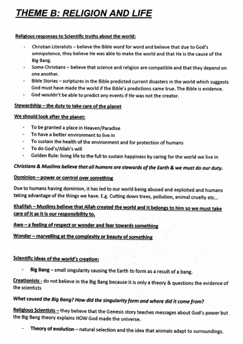 RE Theme B: Religion and Life AQA