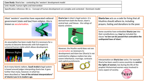 Sharia law Case Study summary sheet for 8A.1a (Health, human rights and intervention) Edexcel 2016+