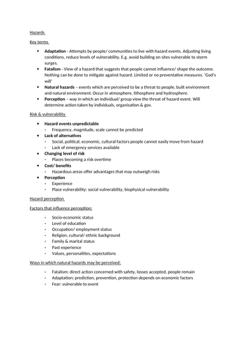 AQA Hazards summary notes & case studies