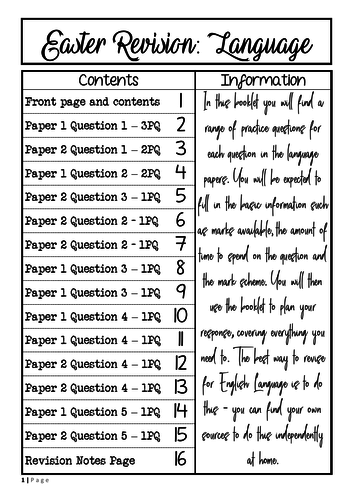 English Language Revision Booklet - inc. practice questions on paper 1 and 2
