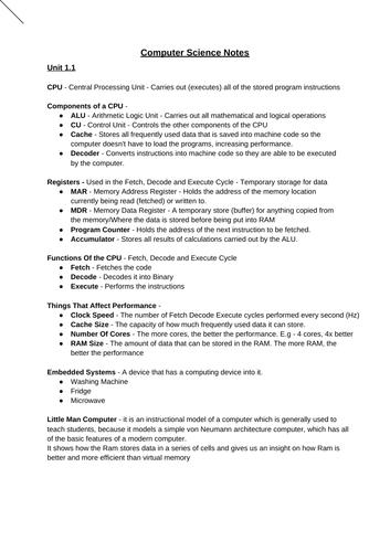 GCSE Computer Science Revision Notes (OCR)