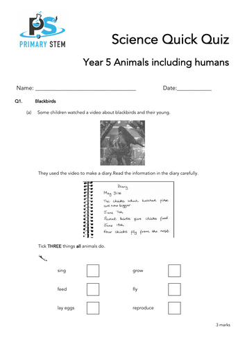 Primary Science Quick Quizzes Year 5