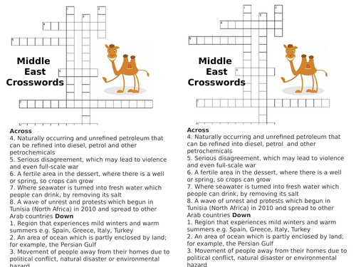 Middle East - crosswords