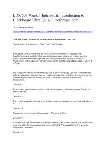 LDR 531 Week 1 Individual: Introduction to Blackboard Ultra Quiz//tutorfortune.com