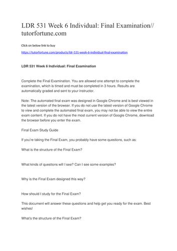 LDR 531 Week 6 Individual: Final Examination//tutorfortune.com