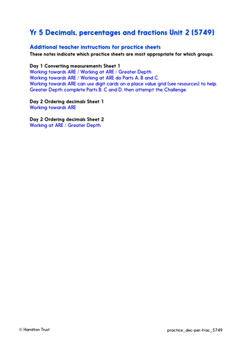 Compare and use 3-place decimals - Practice Worksheet and Answers - Year 5