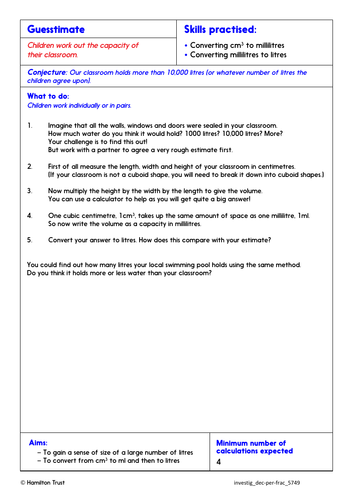 Compare and use 3-place decimals - Problem-Solving Investigation - Year 5