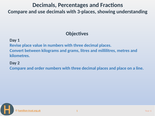 Compare and use 3-place decimals - Teaching Presentation - Year 5