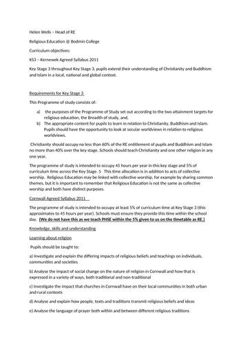 curriculum planning - 5 year plan RE