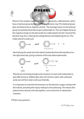 Phenol worksheet