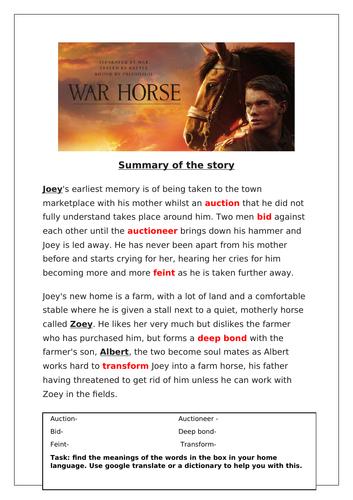 War Horse Work Booklet