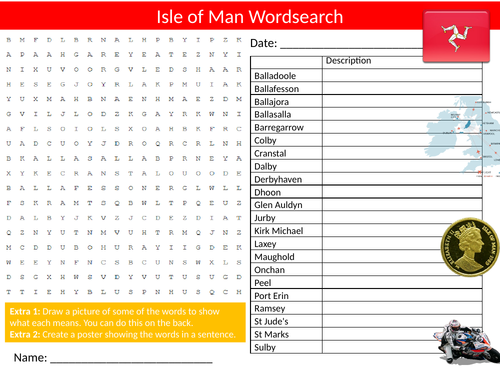 The Isle of Man Wordsearch Sheet Starter Activity Keywords Cover Homework Geography