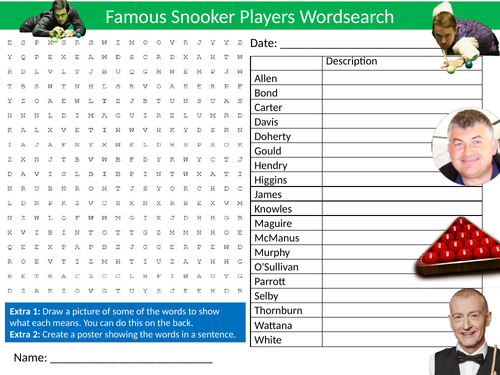 Snooker Players Wordsearch Sheet Starter Activity Keywords Cover Homework PE Physical Education