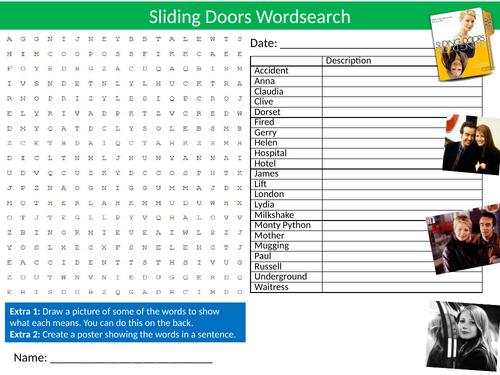 Sliding Doors Movie Wordsearch Sheet Starter Activity Keywords Cover Homework Films Drama