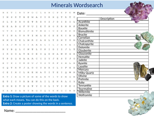 Minerals Wordsearch Sheet Starter Activity Keywords Cover Homework Geology Precious Stones
