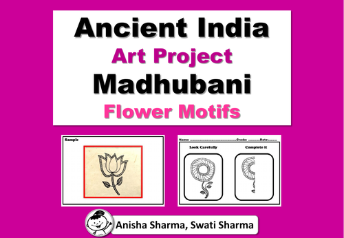 Ancient India Art Project, Madhubani Wall/Folk Art, Flower Motifs