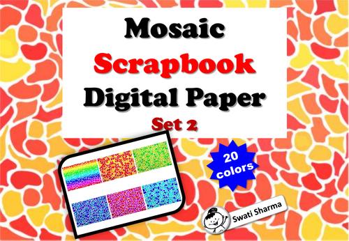 Mosaic Scrapbook Digital Paper, Set 2