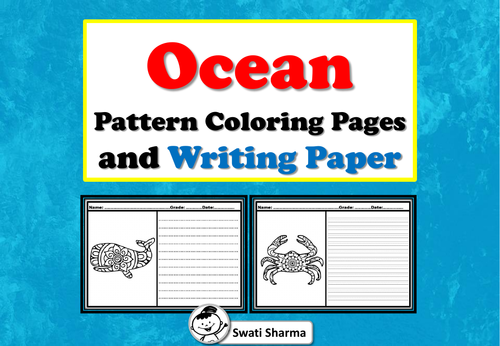 Ocean Pattern Coloring and Writing Paper