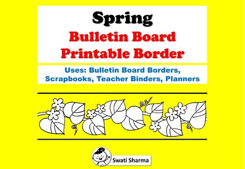 Spring Bulletin Board Printable Borders for Coloring