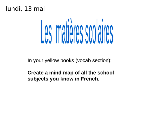 Secondary French resources: school uniform