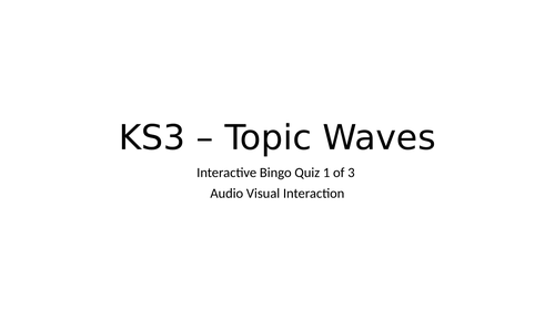 Bingo Game for KS3 topic - Waves - 1 of 3 - Free example