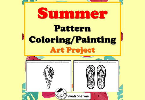 Summer Pattern Coloring, Painting Art Project