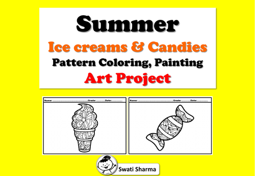 Summer, Ice creams and candies, Pattern Coloring, Painting, Art Project