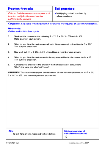 Multiply fractions by whole numbers - Problem-Solving Investigation - Year 5