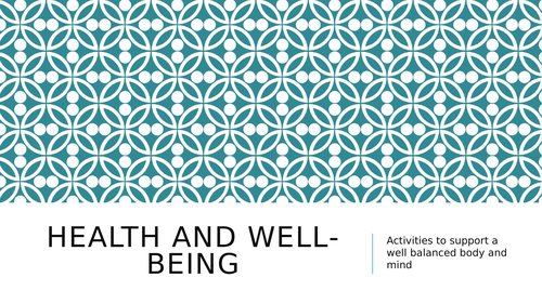 Health and well- being work