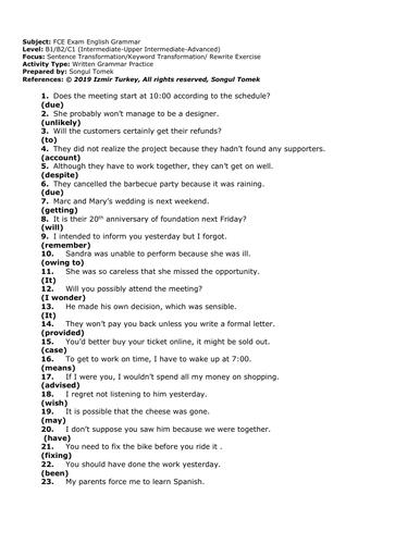 FCE Keyword Transformation Worksheet- B2/C2-Gerunds&Infinitives- Rewrite Exercises