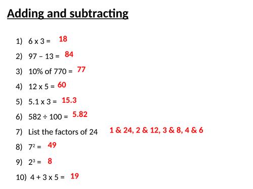 Higher GCSE 9-1 maths starters