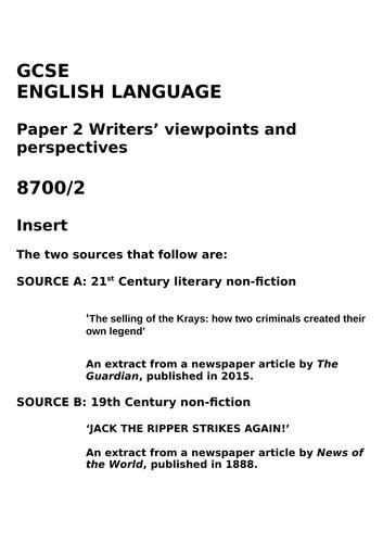 AQA ENGLISH LANGUAGE PAPER 2: KRAY TWINS/JACK THE RIPPER
