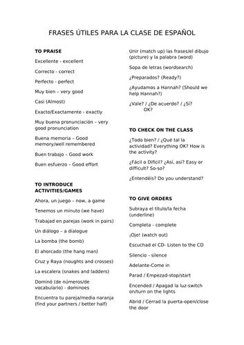 Frases utiles para la clase de español - Useful phrases for the Spanish classroom