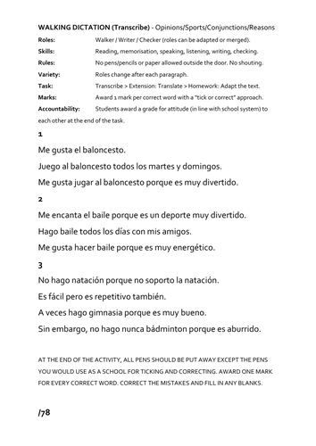 Spanish Walking Dictation Lesson - sports/opinions/reasons/present tense