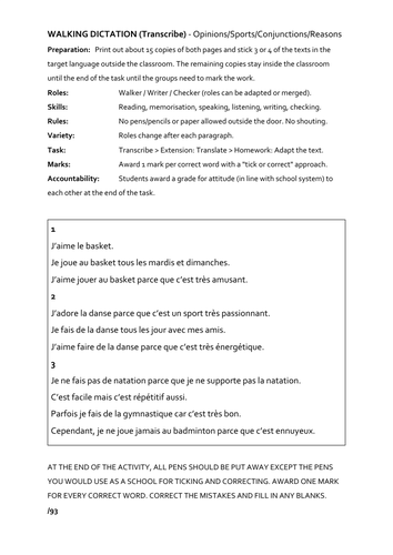 French Walking Dictation Lesson - sports/opinions/reasons/present tense